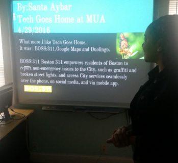Santa Aybar- presenting his project.